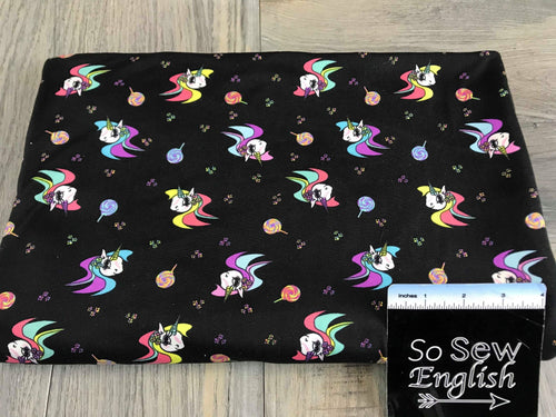 Black LOLLIPOP UNICORNS- Double Brushed Poly Spandex -By The Yard
