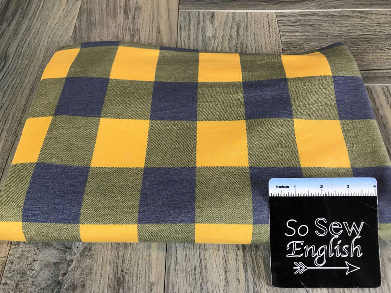 Purple/Gold BUFFALO PLAID -French Terry- By the yard