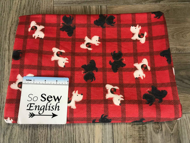 Red SCOTTIE DOGS -Domestic French Terry- By the yard