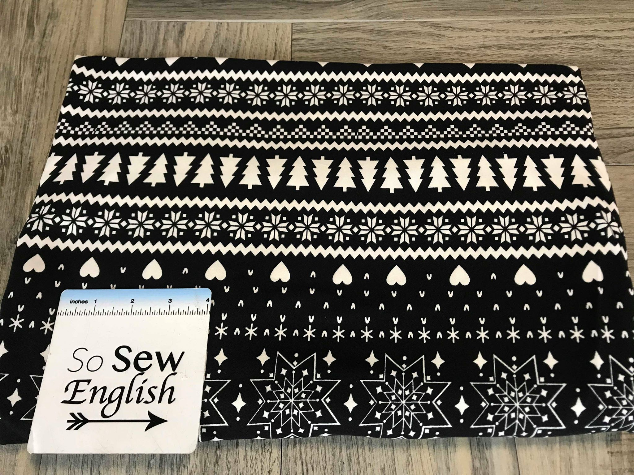 Black SNOWFLAKE TREES -Double Brushed Poly Spandex -By The Yard
