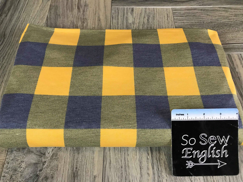 Navy/Yellow BUFFALO PLAID -French Terry- By the yard