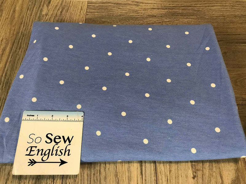 Periwinkle/Ivory DOT -French Terry- By the yard
