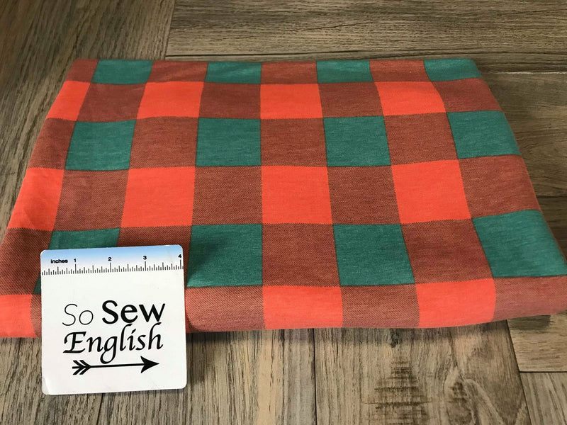 Orange/Teal BUFFALO PLAID -French Terry- By the yard