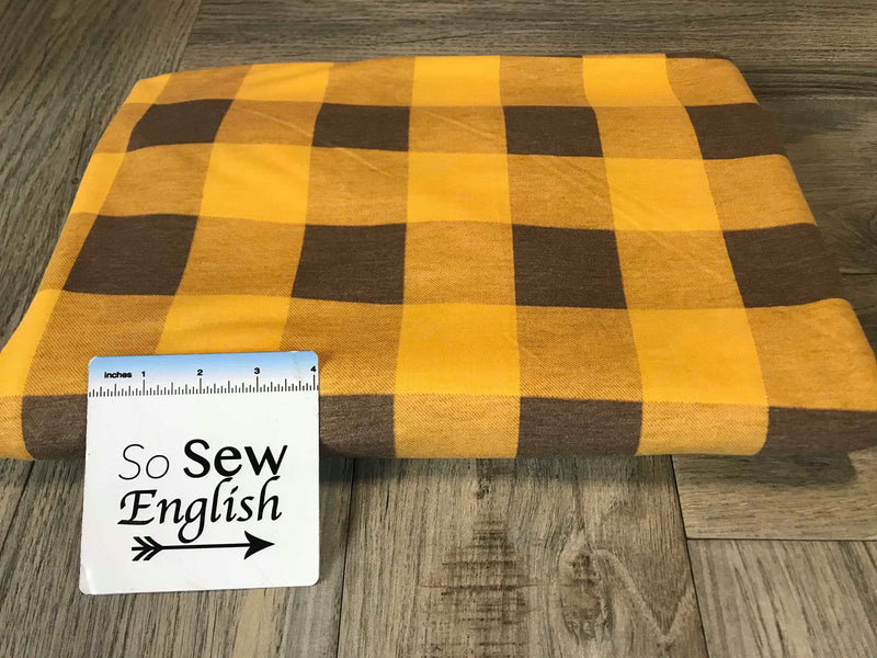 Brown/Gold BUFFALO PLAID -French Terry- By the yard