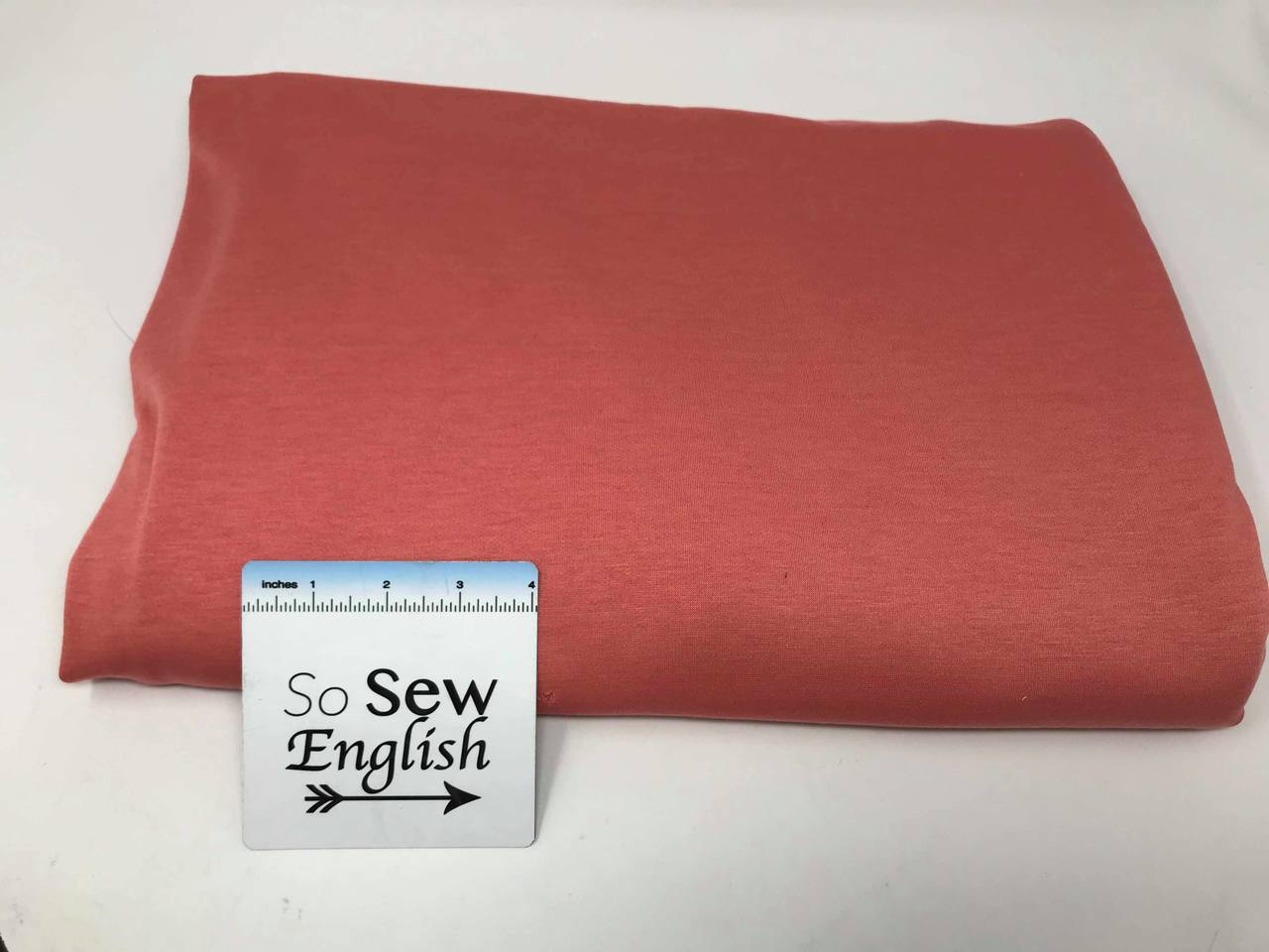 Coral BRUSHED FT - Poly Rayon Spandex French Terry- By the yard