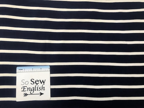 Navy/Ivory STRIPE Wide/Narrow- Double Brushed Poly Spandex - By The Yard