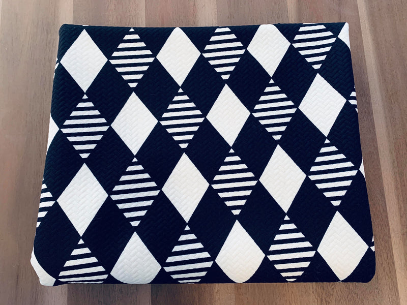 Black/Ivory Harlequin - Quilted Knit - By the yard