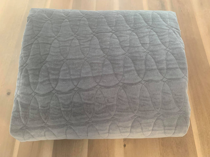 Charcoal Wave - Quilted Velvet - By the Yard