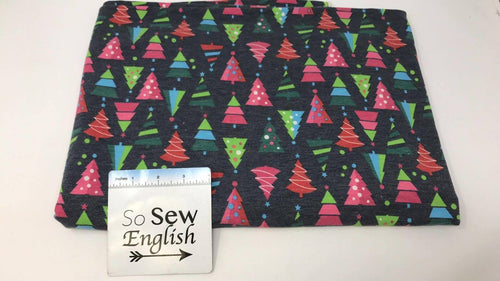 FT Navy Christmas Trees -Poly Rayon Spandex  French Terry - By the yard