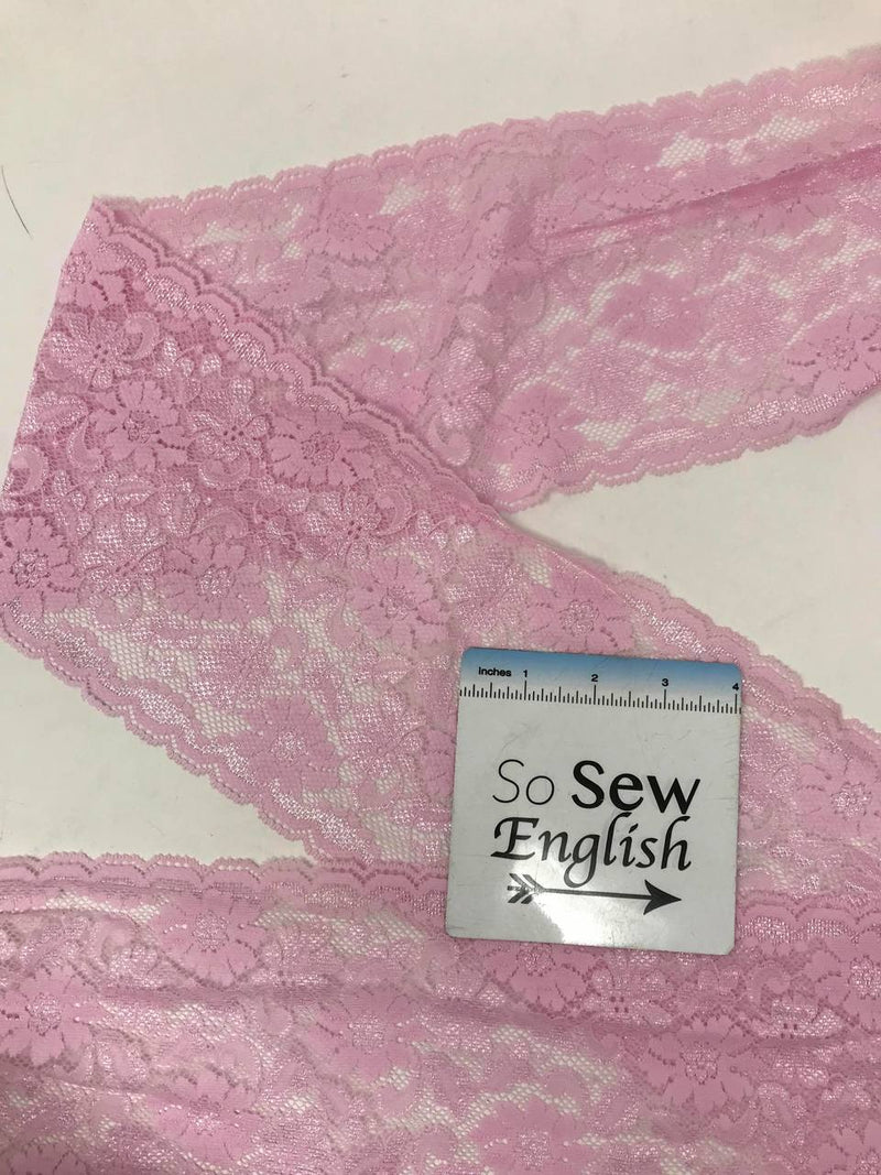 "Light Pink Stretch Lace 6"" - Double Galloon Lace - Sold by the yard"