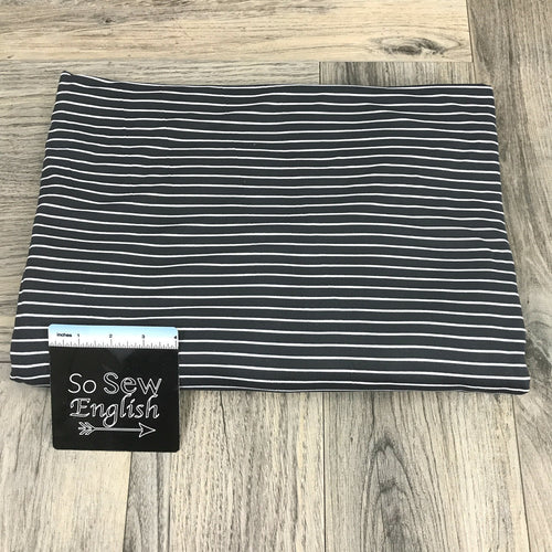 Charcoal Charlie Stripe - Double Brushed Poly Spandex -By The Yard