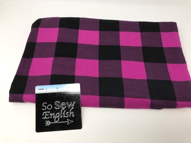 Plum/black PLAID - Double Brushed Poly Spandex - By The Yard