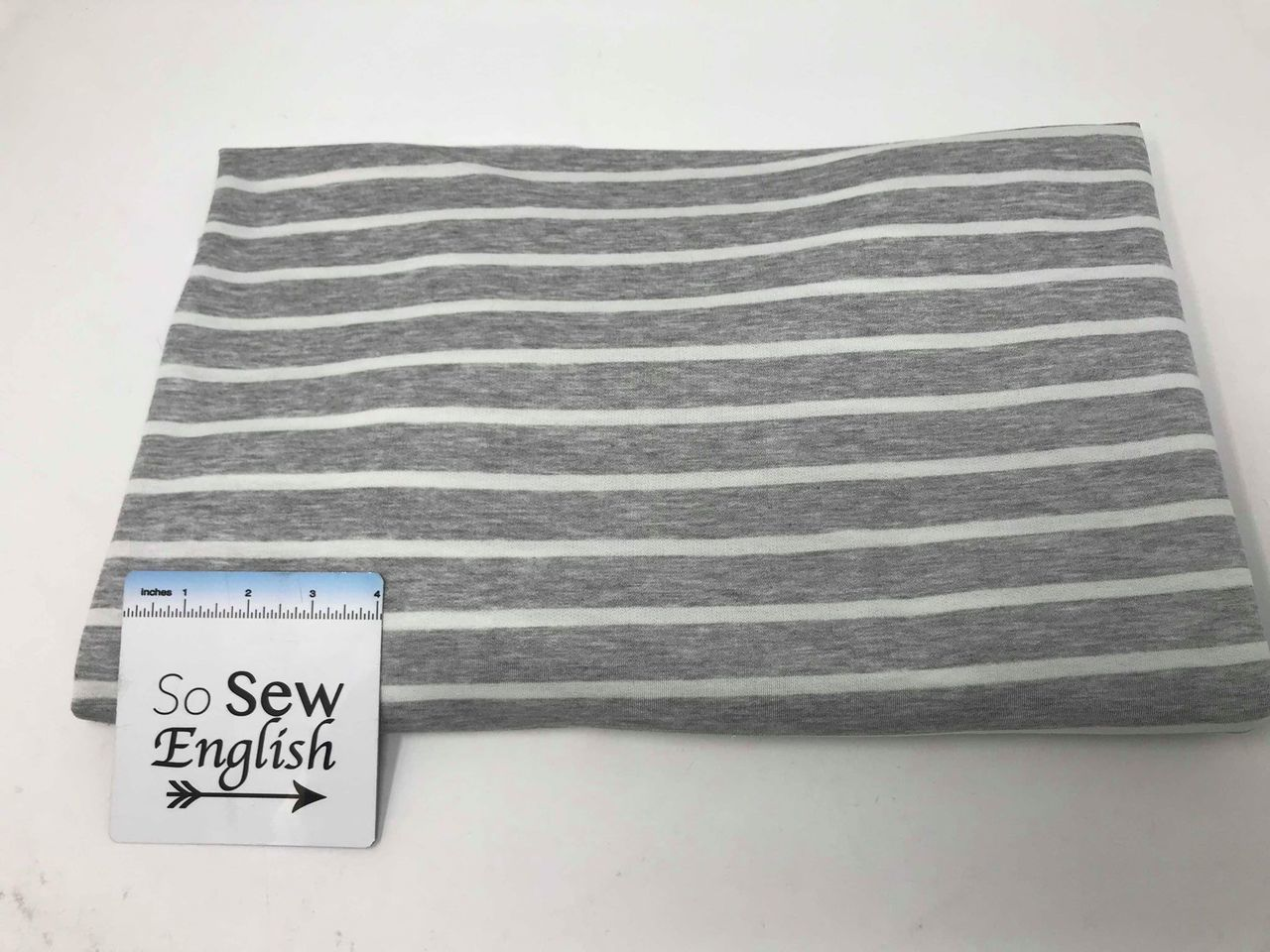 Heather Grey/Ivory RYANN STRIPE - Baby French Terry - By the yard