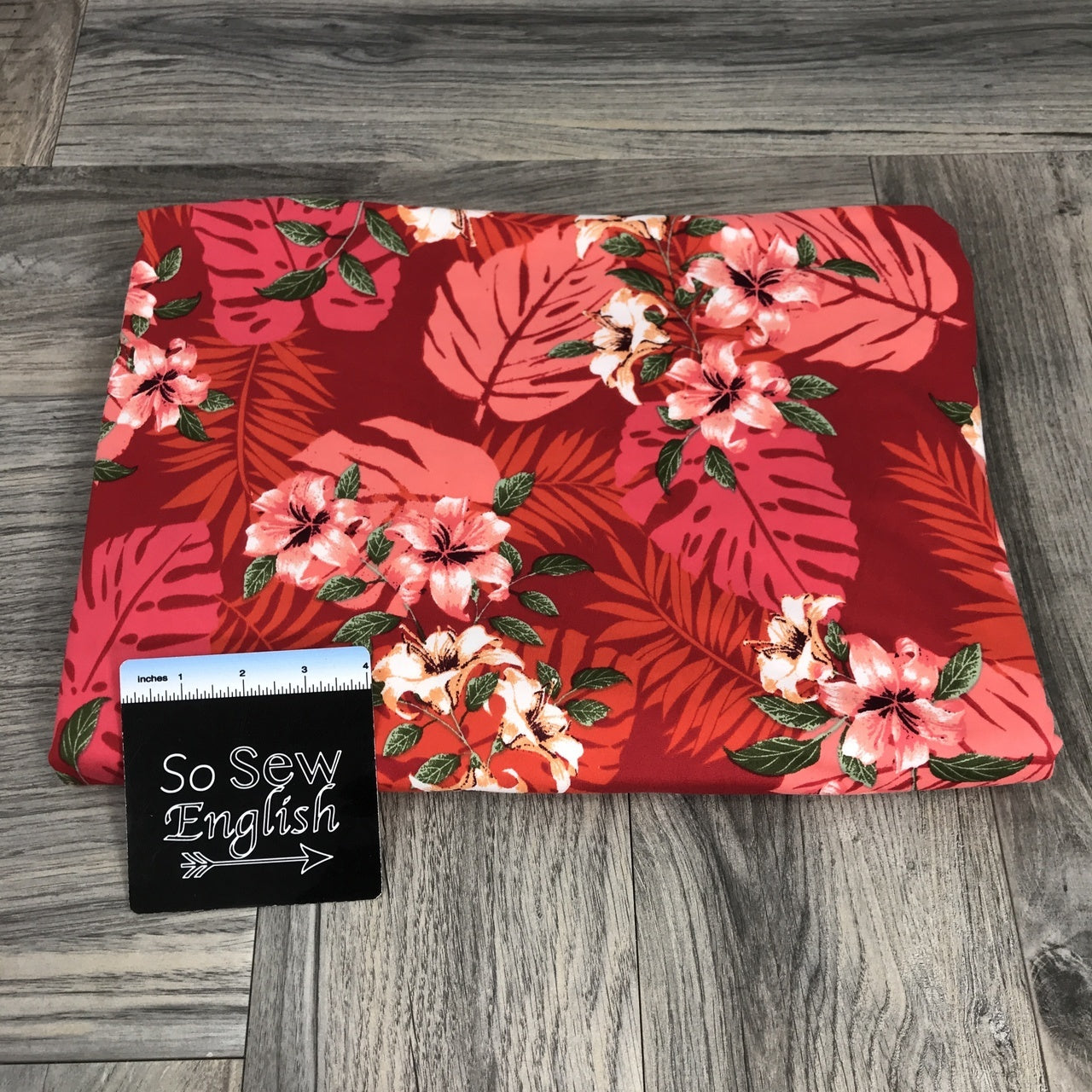 Red PALM LEAVES- Double Brushed Poly Spandex -By The Yard