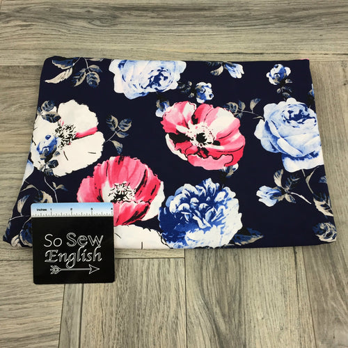 Navy Poppy Bulgaree - ITY Poly Spandex Knit - By the yard