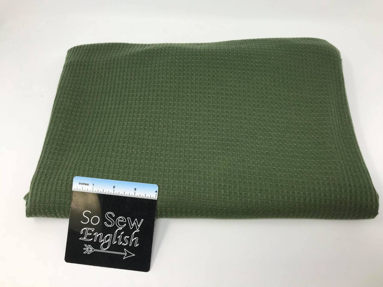 Solid Olive THERMAL  - THERMAL Knit - By the yard