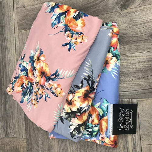Blush WATERCOLOR TROPIC - Single Brushed Poly Spandex -By The Yard