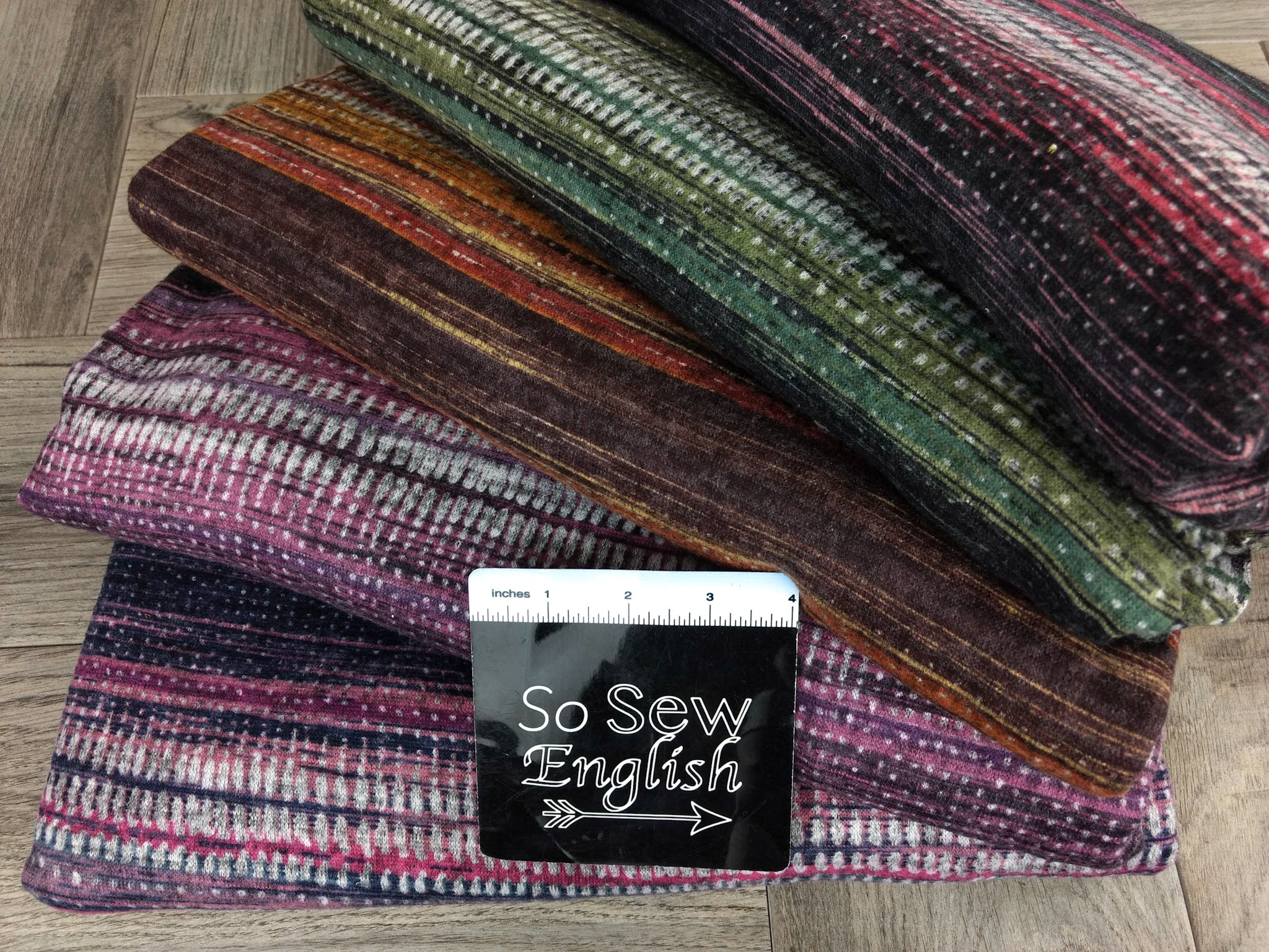 Rose Abstract Stripe -Brushed Hacci - By The Yard