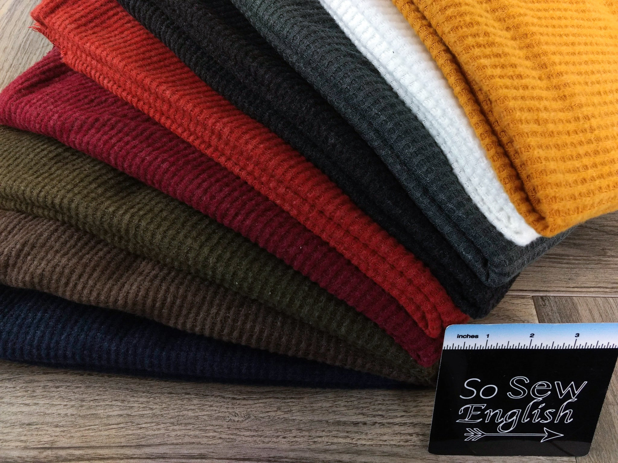 Solid Rust-Brushed Waffle Knit - By the yard