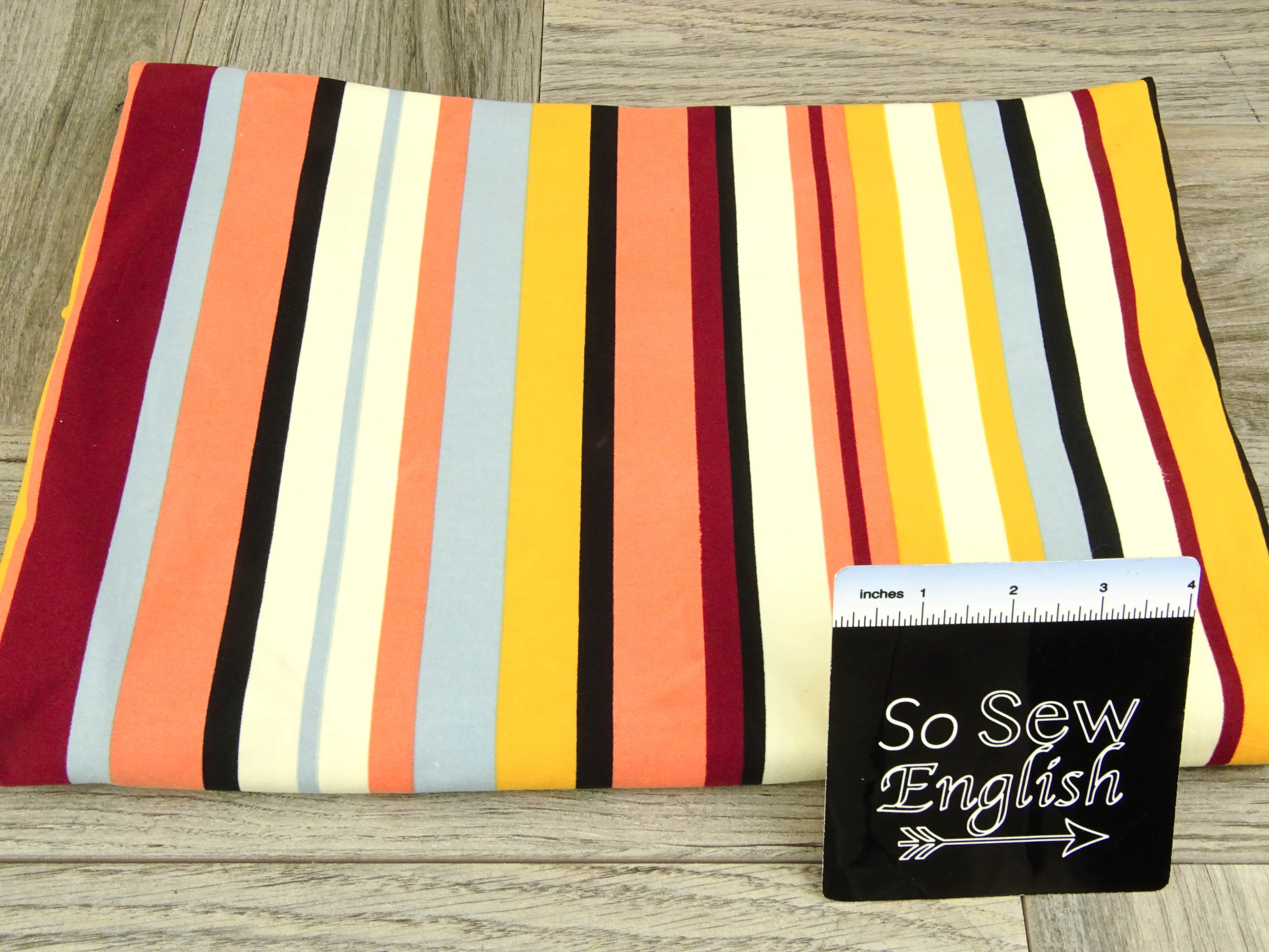 Burgundy/Yellow Vertical Stripe- Single Brushed Poly Spandex -By The Yard
