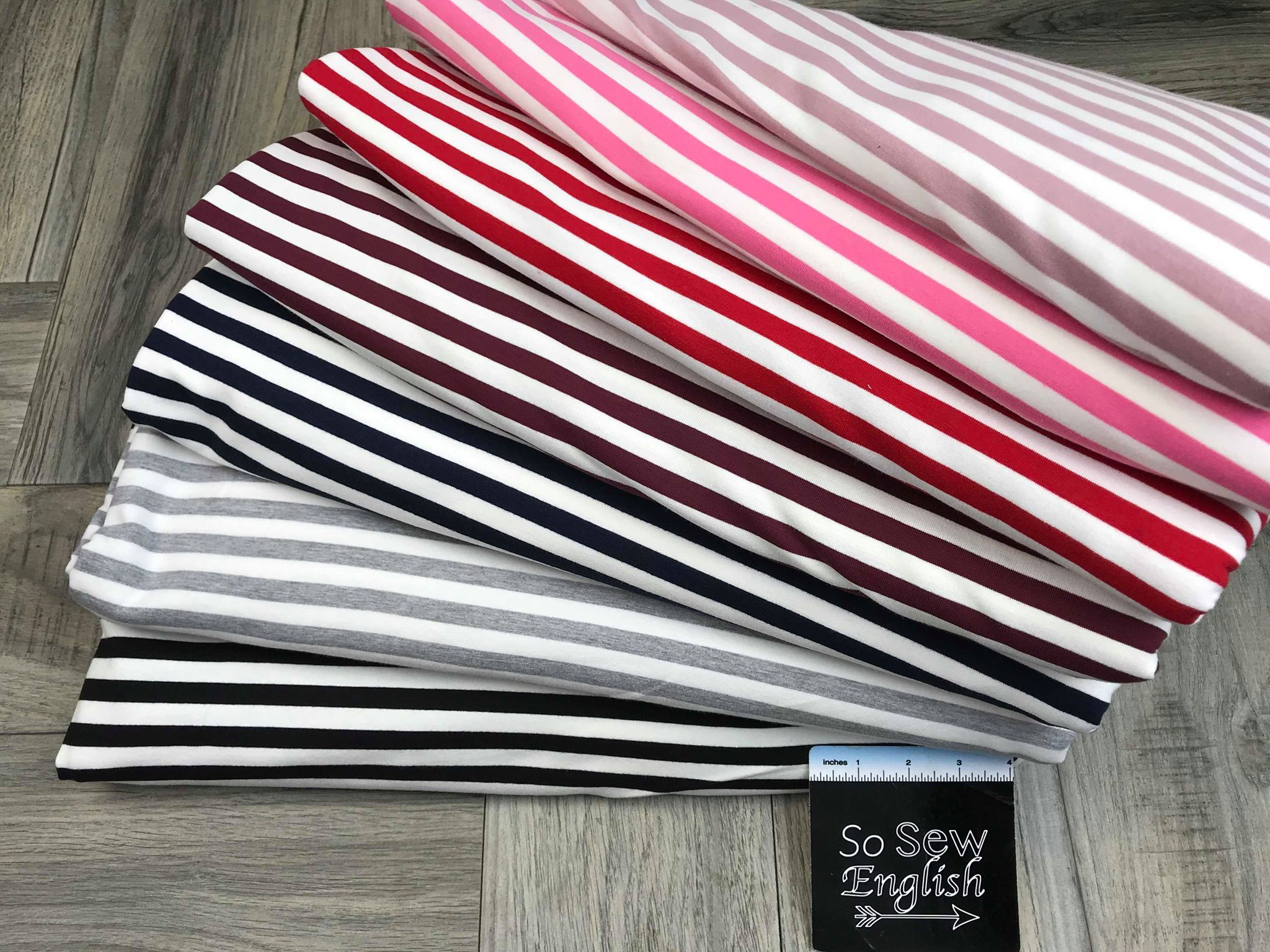 Red/White STRIPE -230gsm Cotton Spandex French Terry- By the yard