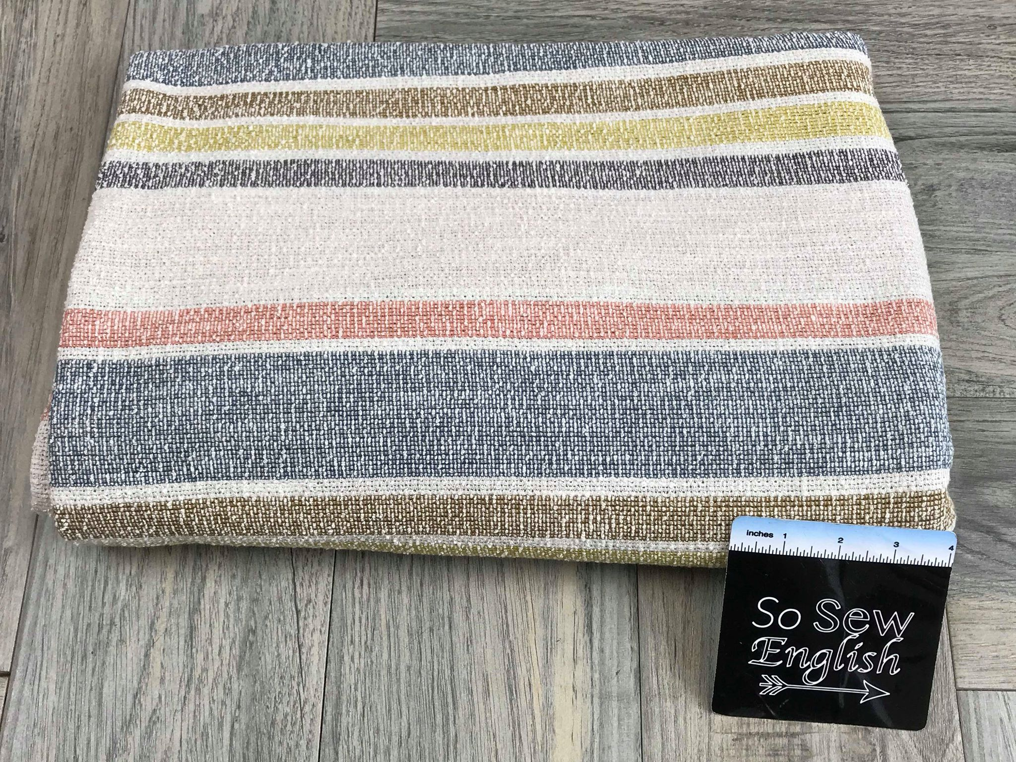 Natural/Navy Stripe- Cotton Double Knit - By the yard