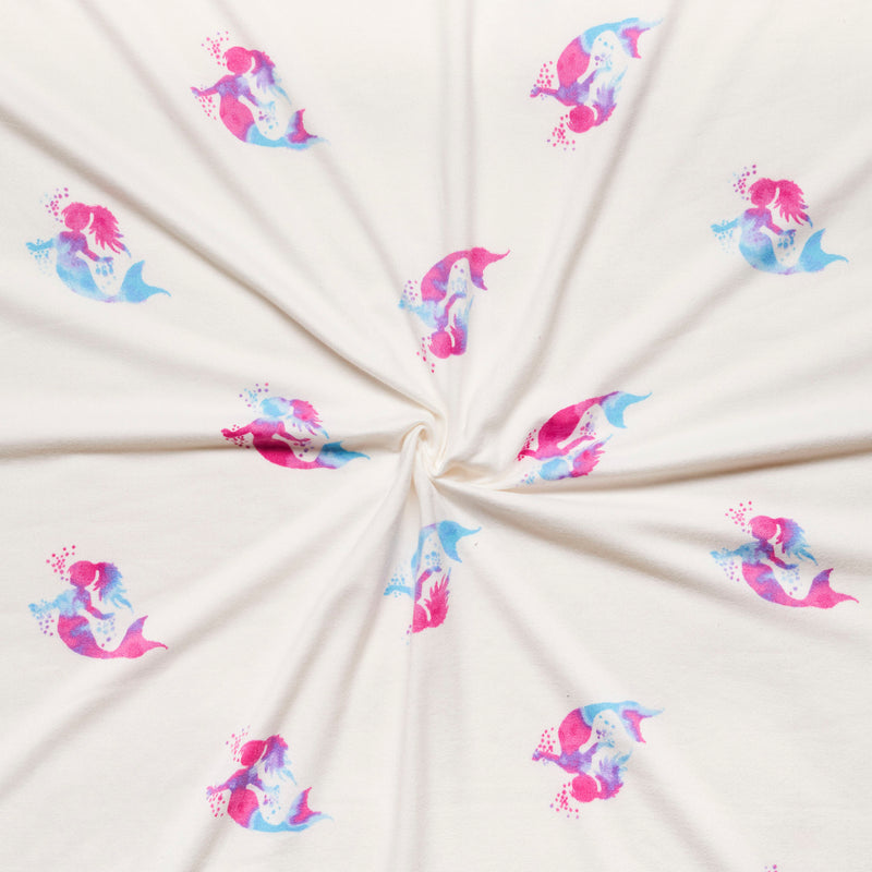Ivory TIE DYE MERMAIDS- Double Brushed Poly Spandex -By The Yard