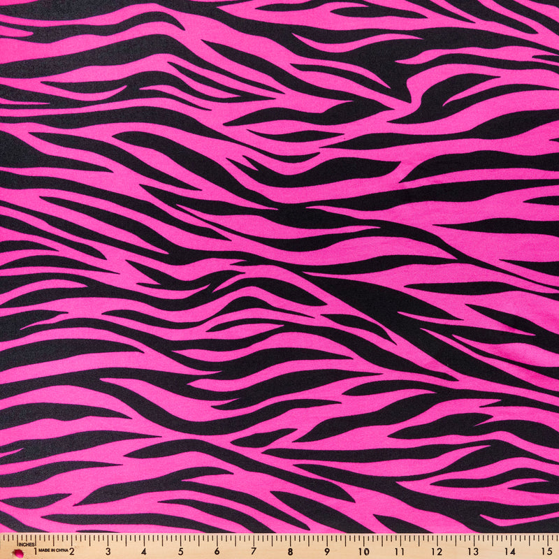 Pink Zebra - Double Brushed Poly Spandex -By The Yard
