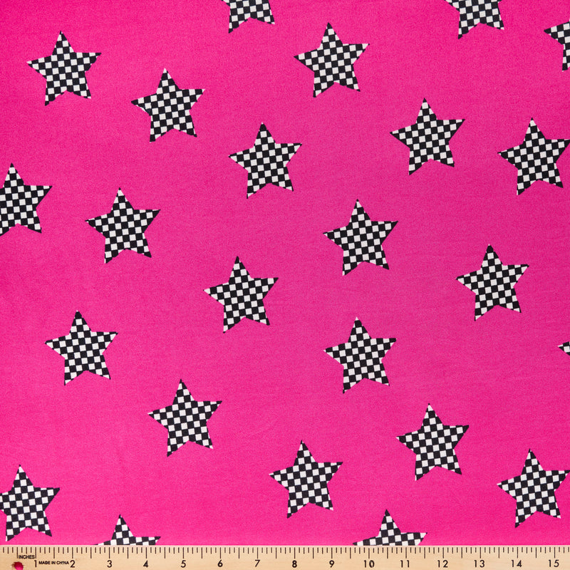 Fuchsia CHECK STARS- Double Brushed Poly Spandex -By The Yard (checker)