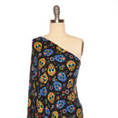 Blue SUGAR SKULLS - Double Brushed Poly Spandex -By The Yard (Halloween)