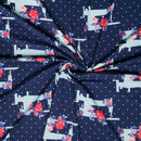 Navy SEWING MACHINE DOT- Double Brushed Poly Spandex -By The Yard