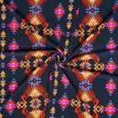 Navy/Tomato AZTEC- Double Brushed Poly Spandex -By The Yard