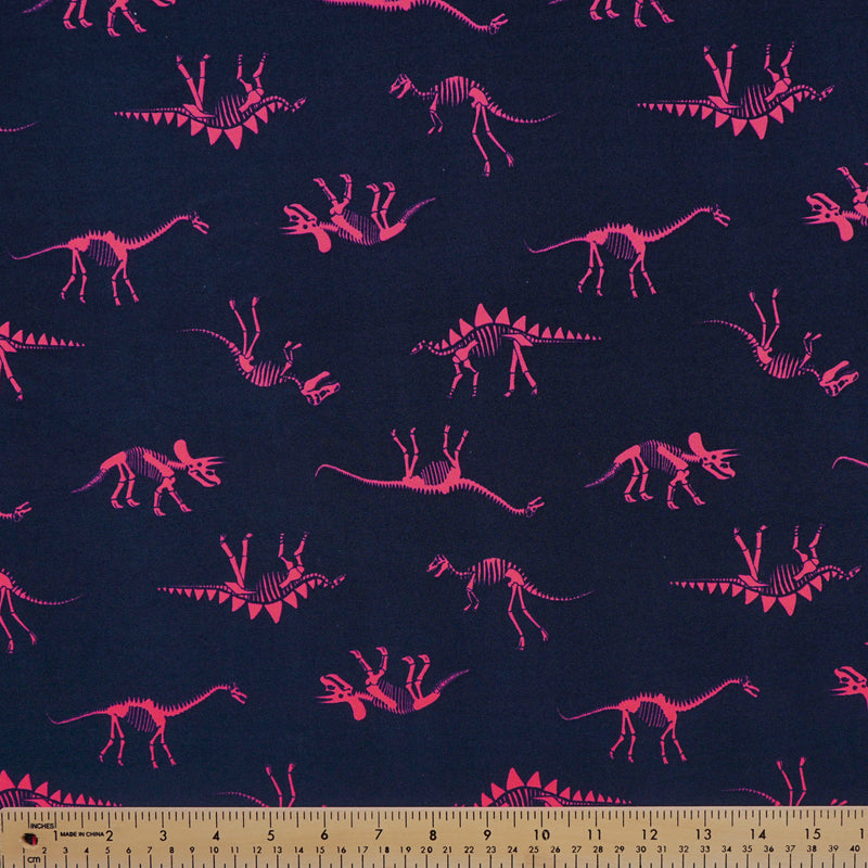 Navy/Neon Pink DINOS- Double Brushed Poly Spandex -By The Yard (dinosaur)