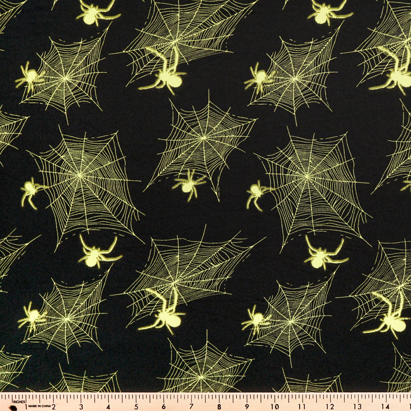 Black/Neon Yellow SPIDER- Double Brushed Poly Spandex -By The Yard (webs, spiderweb, Halloween)