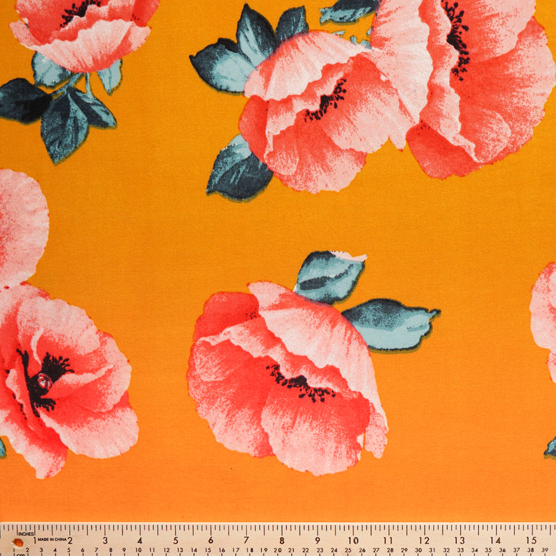 Gold/Red POPPY- Double Brushed Poly Spandex -By The Yard