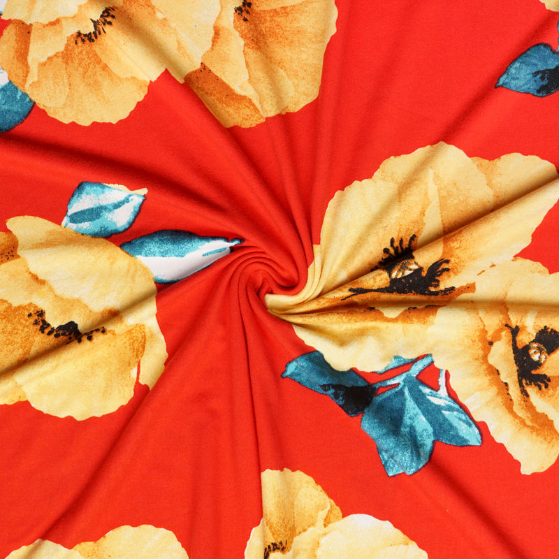Red/Gold POPPY- Double Brushed Poly Spandex -By The Yard