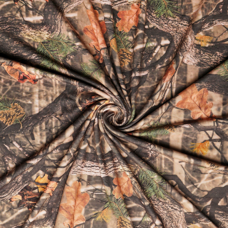 Brown FOREST CAMO- Double Brushed Poly Spandex -By The Yard
