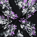 Black/Purple ROSA- Double Brushed Poly Spandex -By The Yard
