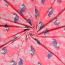Neon Pink Tie Dye FANCY UNICORNS- Double Brushed Poly Spandex -By The Yard