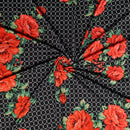 Black CIRCLE FLORAL - Double Brushed Poly Spandex -By The Yard