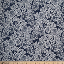 Navy/Ivory LACE PRINT - Double Brushed Poly Spandex -By The Yard