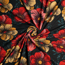 Black/Red Fiona - Double Brushed Polyester - By The Yard
