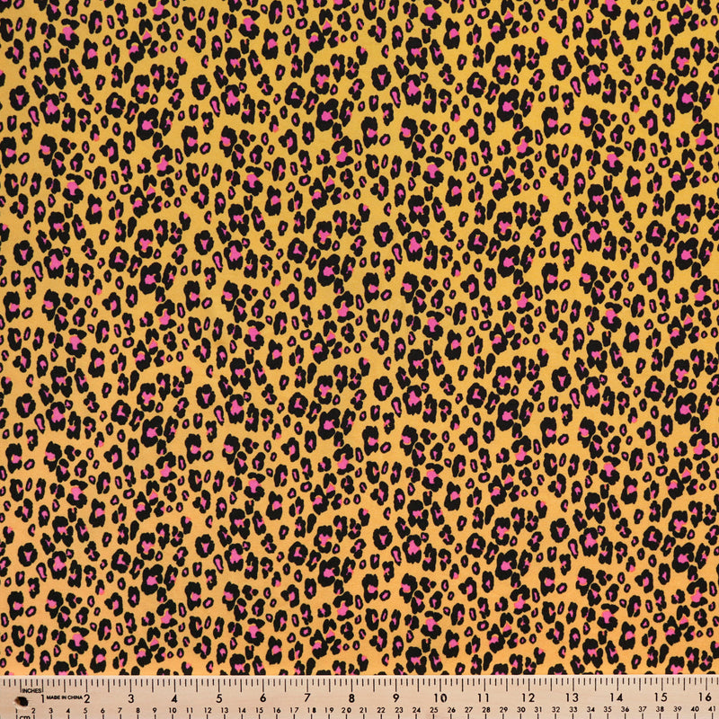 Mustard Leopard - Double Brushed Polyester - By The Yard