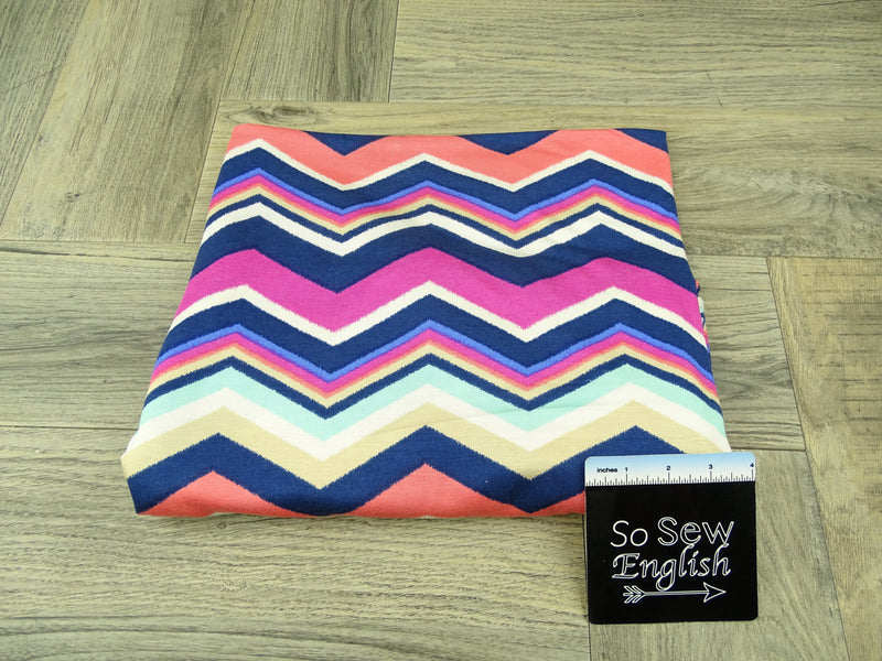 Coral/Navy CHEVRON- Rayon Spandex -By the yard
