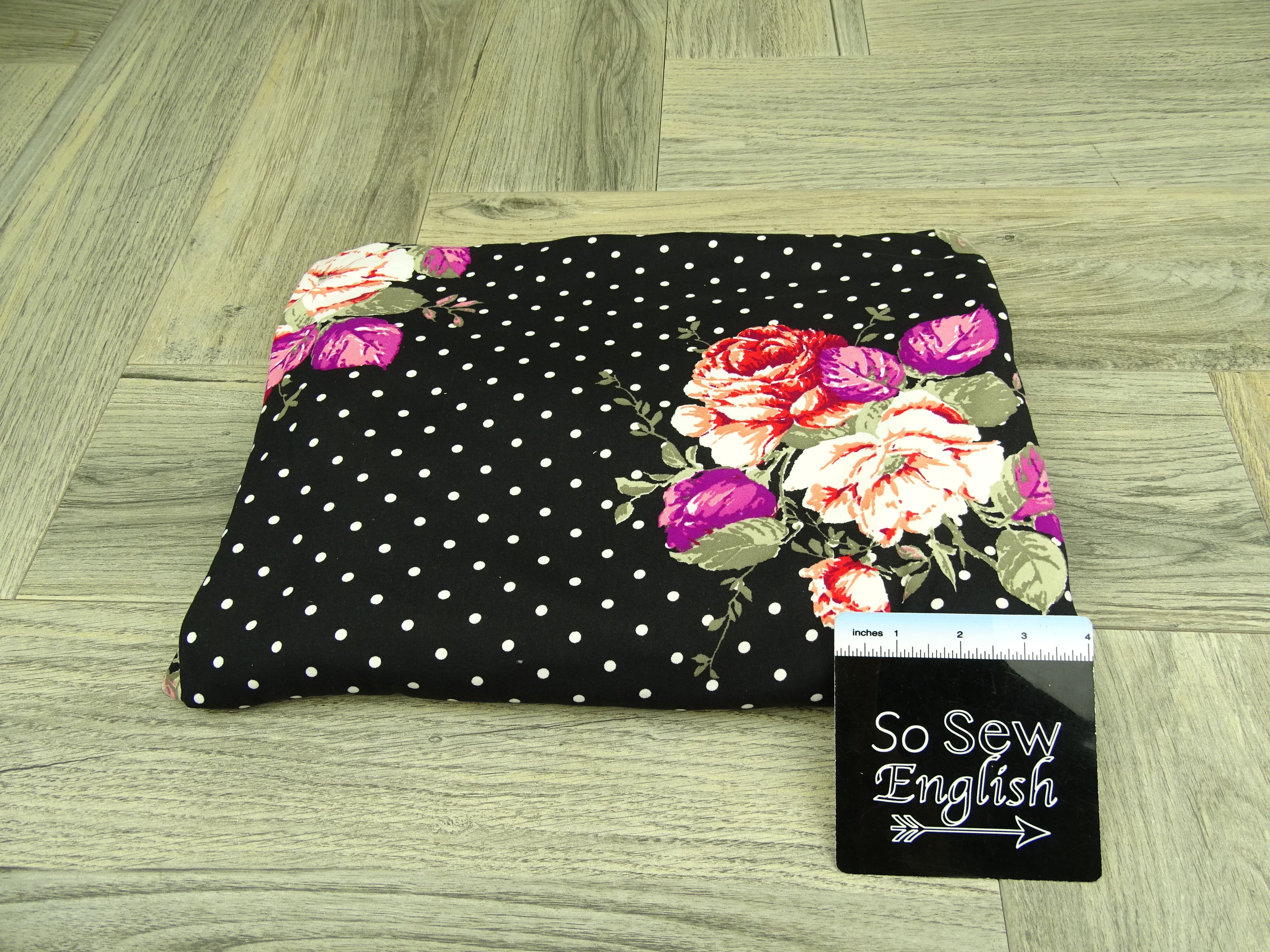 Black RAMONA dot floral - Double Brushed Poly Spandex -By The Yard