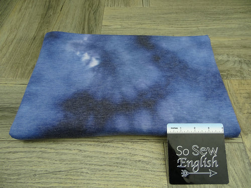 Blue NOVA TIE DYE -Poly Rayon Spandex French Terry - By the yard