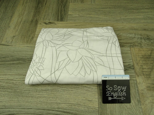 White SERENITY LOTUS -Poly Rayon Jersey -By the yard
