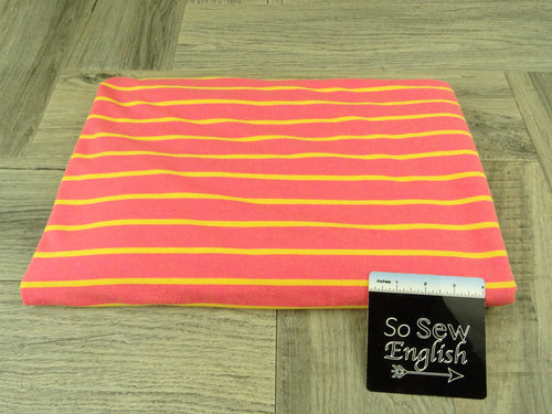Coral/Yellow STRIPED -Baby French Terry - By the yard