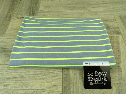 Navy/Lime STRIPED -Baby French Terry - By the yard