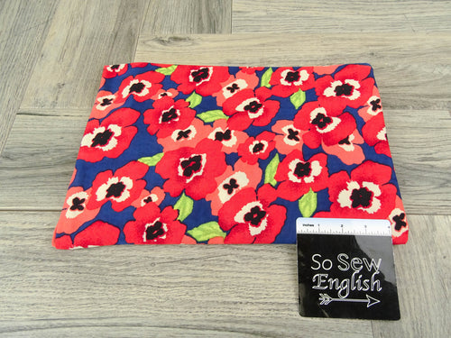 Navy/Red POPPY -ITY Knit - By the yard
